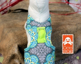 Ready to Ship - XXXS Ferret / Small Pet Harness - Grey and Blue Floral