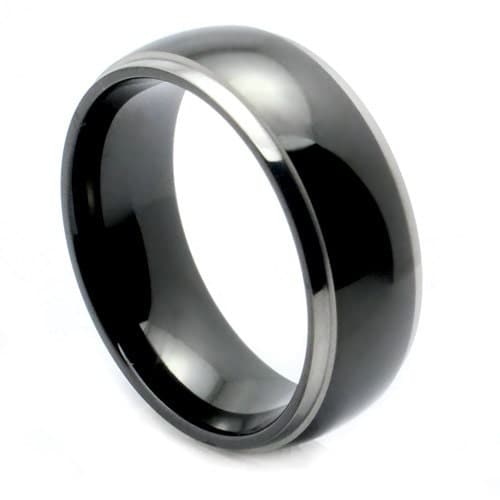mens ring black tungsten wedding band unique mens wedding band