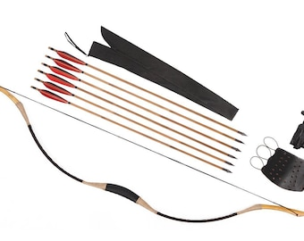 Longbowmaker Archery Combination Longbow Recurve Bow 6 Bamboo Arrows 20-80LBS C1H1YH