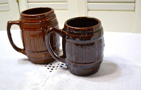 Vintage Barrel Mug Set Of 2 Mccoy Usa Pottery Brown Glaze