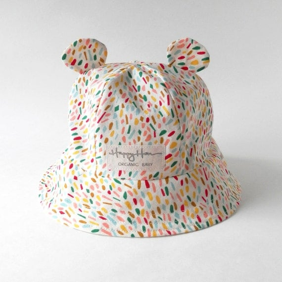 Baby Bucket Hat In Confetti Organic Cotton Baby Bear Ear