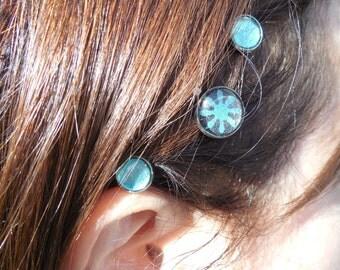 Hair pin set, teal bobby pin, hair accessory, teal hair pin, teal hair jewel, teal hair accessory