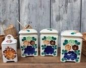 Vintage kitchen storage jars ceramic pottery hand painted set of 4
