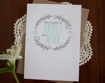 Happily Ever After - Letterpress Wedding Card