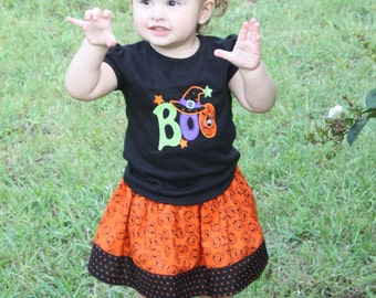 Pumpkin Twirl Skirt with Boo Shirt
