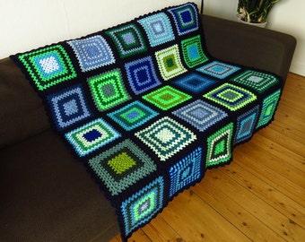 Throw Blanket Throw For Sofa Blue Throw Blanket Sofa Throw Blue & Green Blanket FREE SHIPPING