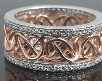 Sterling silver 925 rose gold plated filigree band