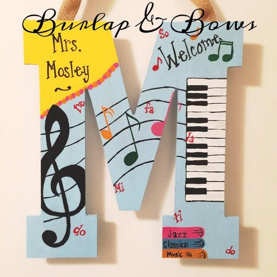 Diy Music Classroom Decorations ~ Hand painted music teacher door hanger can do most initials