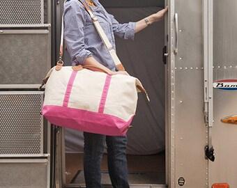 Monogrammed Canvas Duffle Bag - Pink