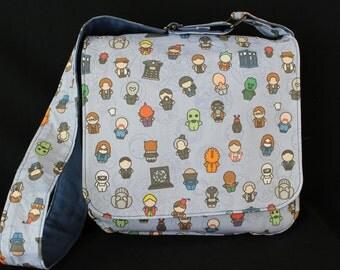 Doctor Who Chibi Blue Messenger Bag - Adjustable Strap, Magnetic Closure