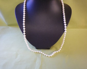 Quality Faux Pearl Necklace Silver Ornate Relief Cut Clasp
