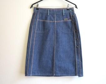DIESEL Denim Skirt Blue High Waisted Jean Pencil Skirt Buttons Up Skirt Small Size