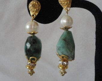 Magnificent Gold Vermail Emerald Pearl Earrings******.