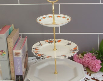 Beautiful Vintage Plates Cake Stand - 3 Tier - With Contrasting Black, White & Orange Plates and Gold Stem - D12