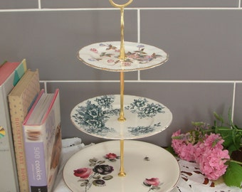 Beautiful Vintage Plates Cake Stand - 3 Tier - With Contrasting Blue, White & Pink Plates and Gold Stem - D16