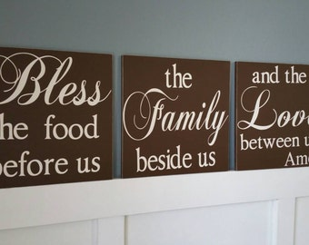 Large Set Bless the food before us the Family beside us and the Love between us Hand Painted Wood Signs Home Decor Kitchen Wall Art