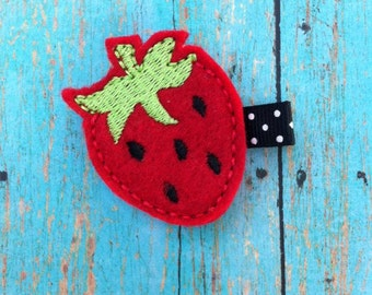 Strawberry Feltie - Felt Hair Clip