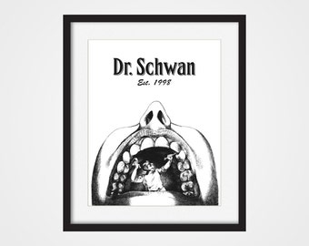 Personalized Dentist Art Print, Dental Art, Human Anatomy 5x7, 8X10, 11x14 Medical Wall Art, Doctor Dentist Wall Decor, Dentist Gift