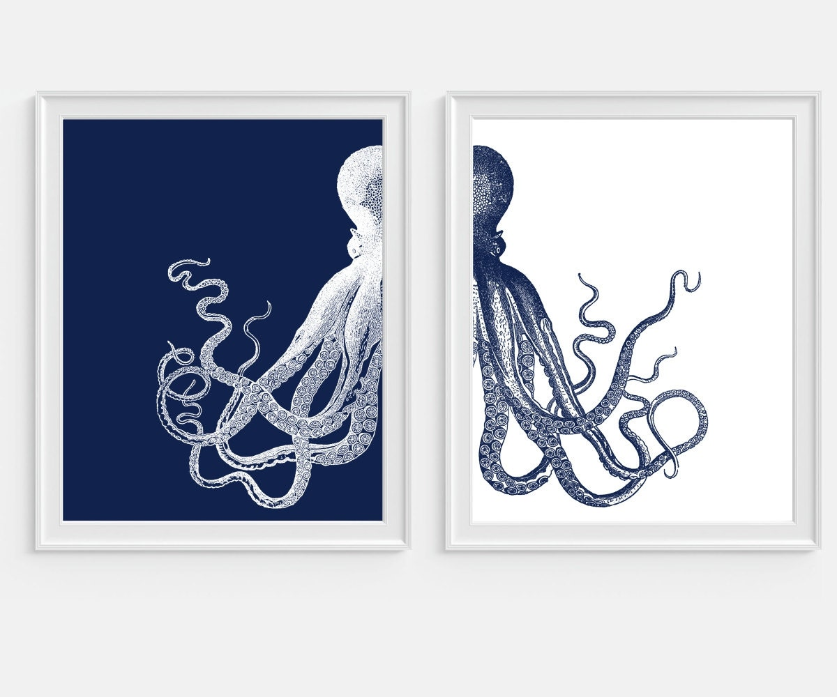 Octopus Art Print Beach Nautical Print Beach House Sea Ocean
