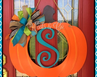 Festive Fall Pumpkin with Initial Cutout