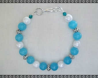 blue bracelet, blue and white bracelet, light blue bracelet, aqua bracelet, aqua blue
