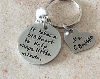 Teacher Appreciation stamped personalized keepsake keychain
