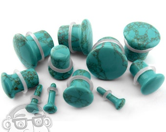 "Howlite Turquoise Stone Plugs - Single Flare (8G - 5/8"") Sold In Pairs - New!"