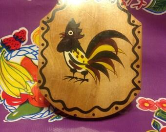 Vintage Woodpecker Wood Ware wooden hamburger press with rooster design- Japan
