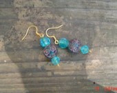 Ocean Blue dangle earrings  femal geift OOAKHandmade Jewelry