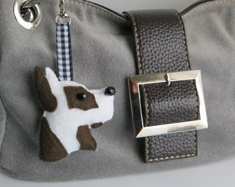 Harlequin Great Dane hand sewn felt bag charm