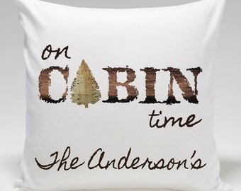Rustic Cabin Decor - Personalized Cabin Throw Pillow - Lake House Decor - On Cabin Time - GC1293 ON CABIN TIME