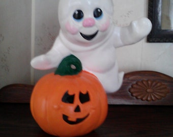 Hand Painted Ceramic Ghost and Pumpkin