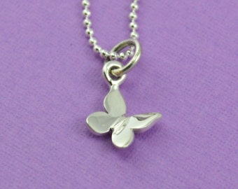 Tiny Butterfly Necklace in Sterling Silver