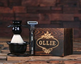 Personalized Monogrammed Shaving Kit, Brush and Mach 3 Razor with Wood Box Groomsmen Gift (025144)