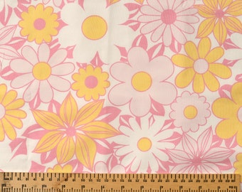 Vintage Polycotton Fabric Fat Quarter Pink and Yellow Flowers
