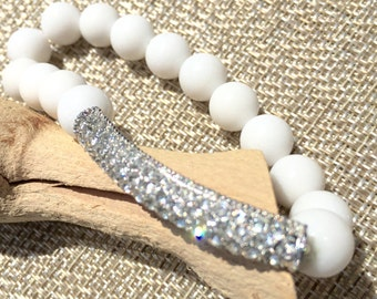 While Jade Bracelet with Curved Pave Bar