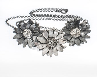 Flower Necklace, Daisy Necklace, Floral Necklace, Silver Flower, Sterling Silver, Oxidized, Chain, Handmade