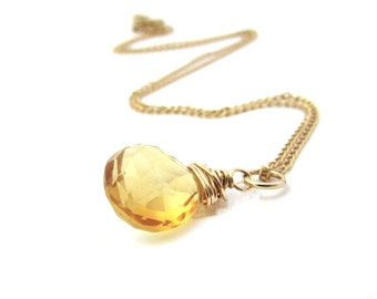 Citrine necklace, November birthstone, citrine pendant, gold filled wire wrapped necklace, yellow gemstone jewelry, gold citrine jewelry