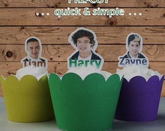 One Direction faces EDIBLE wafer stand up toppers PRE-CUT