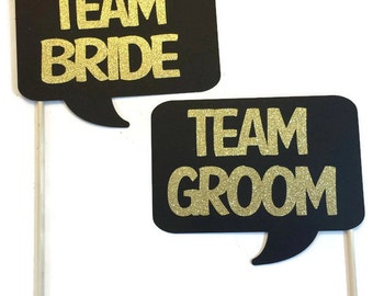 Photo Booth Props - Team Bride and Team Goom Word Bubbles - 2 Piece Photo Booth Props with Glitter- Pick your Glitter Color