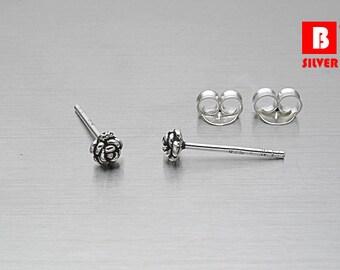 925 Sterling Silver Oxidized Earrings, Rose Earrings, Stud Earrings (Code : ED47)