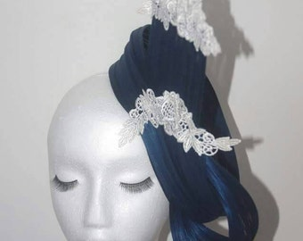 Designer fascinator hat One of a kind. Navy & cream lace.
