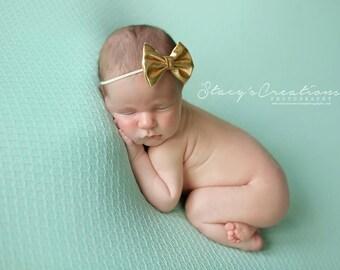 Gold Bow Headband, Mini Bow Headband, Baby Headband, Photo Prop, Gold Headband