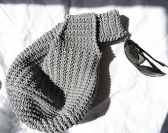 Japanese Knot Bag / Gray Knot Bag / Crochet Knot Bag