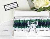 Personalised Tartan Wedding Garter  Campbell Tartan  White Lace