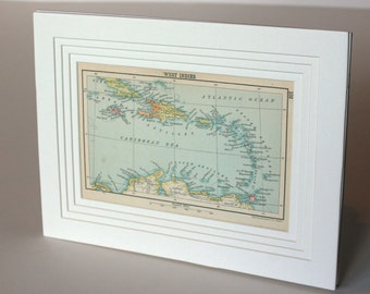 Caribbean map West Indies 1800s America Antique Vintage Map for Home decor wall art gift item