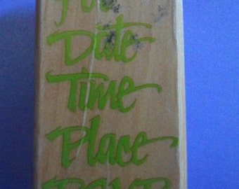 """3"""" x 1.5"""" For Date Time Place RSVP Stamp Crafting Supply Scrapbooking Pre-Owned"""