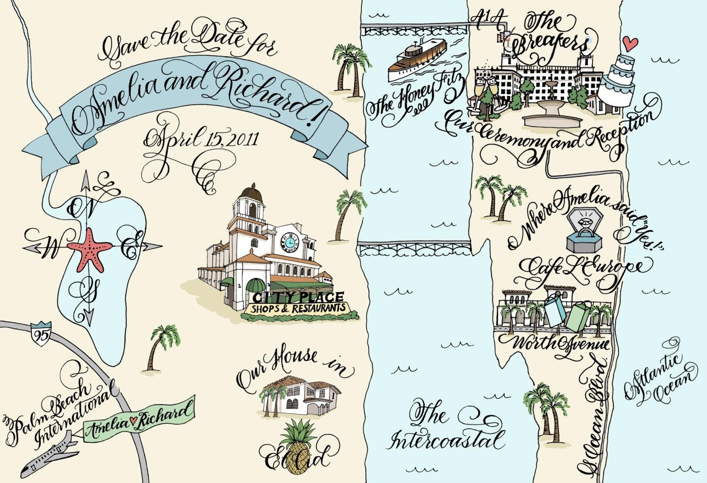 Wedding Invitation Map Maker: Custom Wedding Map Hand Drawn Wedding Map Invitation Insert
