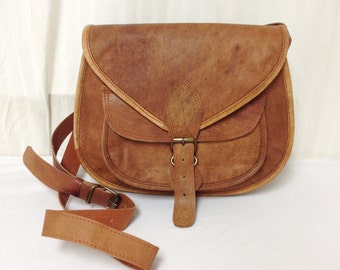 Saddle bag purse,cross body saddle bag, Saddle shoulder Bag Leather Purse light  Brown