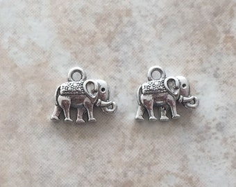 12x14x2.5mm Alloy Metal Vintage Elephant Charms in Antique Silver Color (ch15)